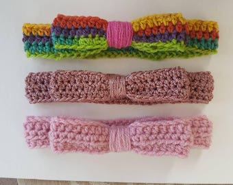 Handmade Crochet Bow Headband Any Size