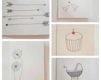 6 Pack Hand Drawn Personalised Greetings Cards Mix and Match