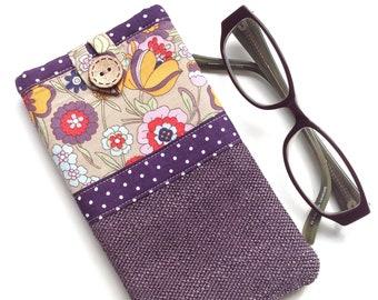 Glasses case - Spectacle case - Eyeglasses case - 'Retro garden' Print - Fabric glasses pouch - Gift for mum
