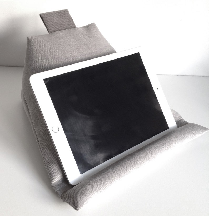Grey Ipad Tablet Cushion Stand Silver Grey And Smoke Grey Ipad Cushion Comfy Book Prop Stand