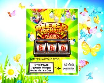 1 CARTE Jackpot Pâques Jeu à Gratter Personnalisé Lapin Oeuf Cloche Annonce  Grossesse Demande Témoin Mariage Bébé Cadeau Personnalisé