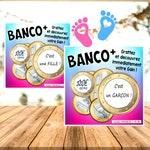 Banco Fille Ou Garçon Carte Ticket Jeu à Gratter Mini Format 7 X 7 Cm à Personnaliser Avec Votre Texte Bébé Grossesse Annonce Demande