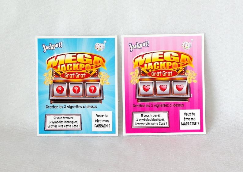 lot de 2 cartes à gratter PARRAIN MARRAINE idée de cadeau - Créatrice ESTY : DecosGinieCreations