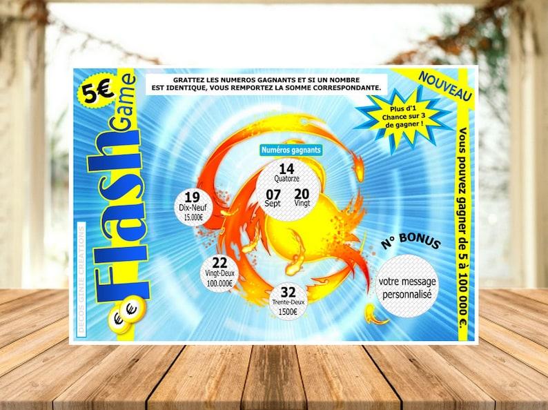 20 CARTES FLASH jeu ticket à gratter personnalisé - Créatrice ETSY : DecosGinieCreations