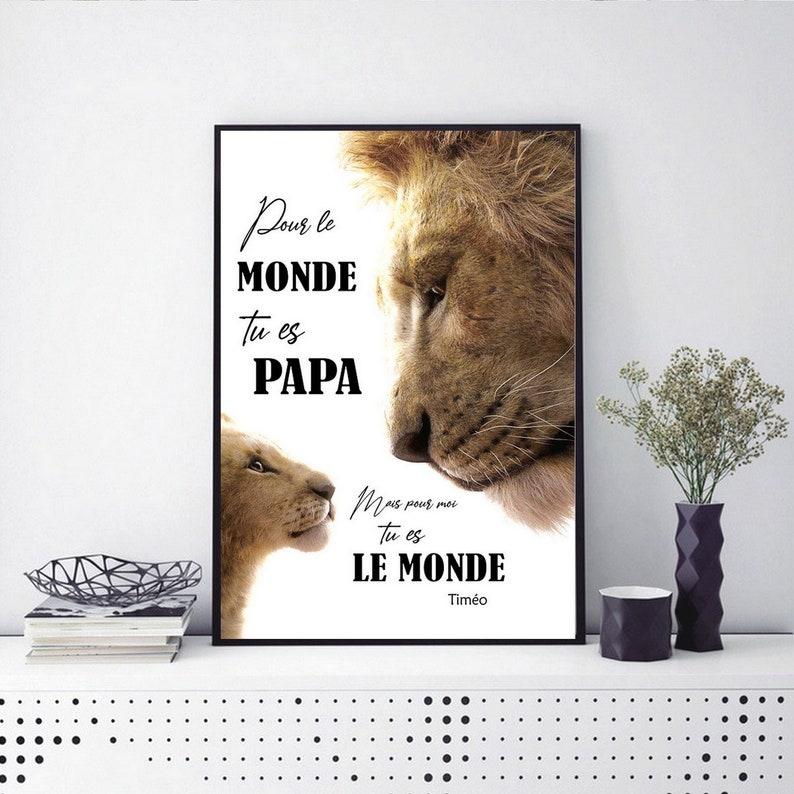 AFFICHE PAPA LION lionceau cadre photo fete pere mere cadeau AVEC 1 LIONCEAU