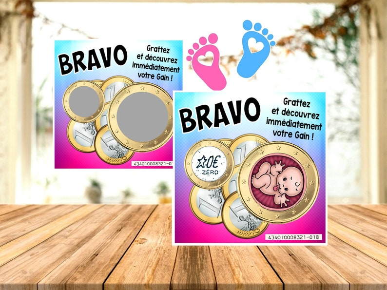 BRAVO : 1 Carte Coucou bébé ticket jeu à gratter - Créatrice ETSY : DecosGinieCreations