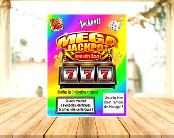 1 MEGA JACKPOT scratch card personalized wedding witness pregnancy announcement request ticket Godfather godmother Granny gift original