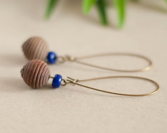 Vintage earrings made from wooden beads and blue glass beads