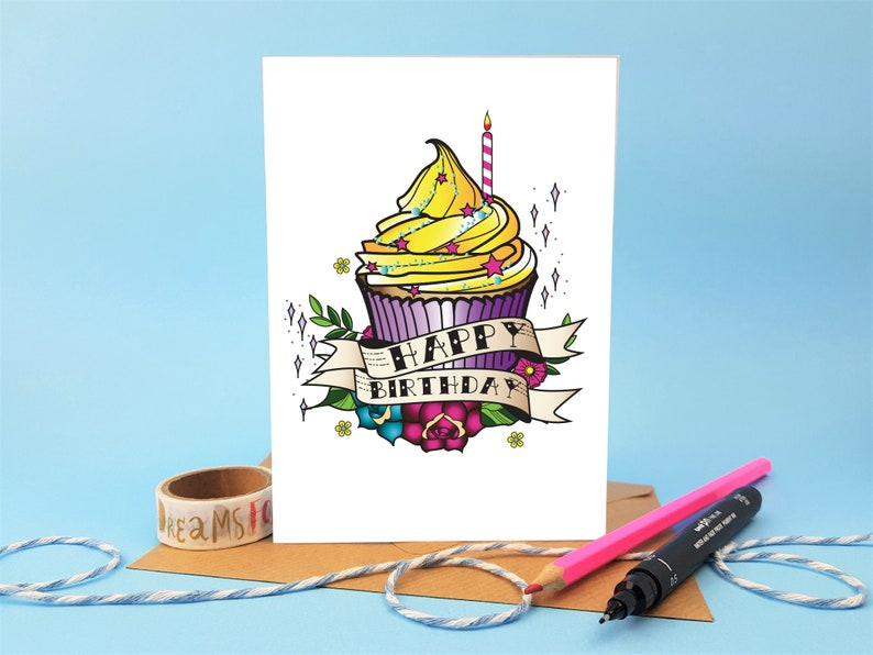 Card With Birthday Cake Happy Baking Themed
