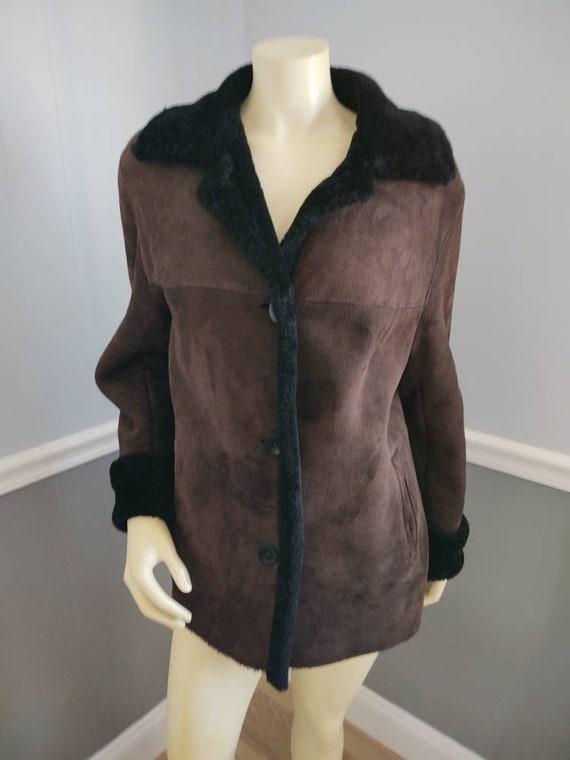 Shearling Coat / Sheepskin Leather Jacket Size Med