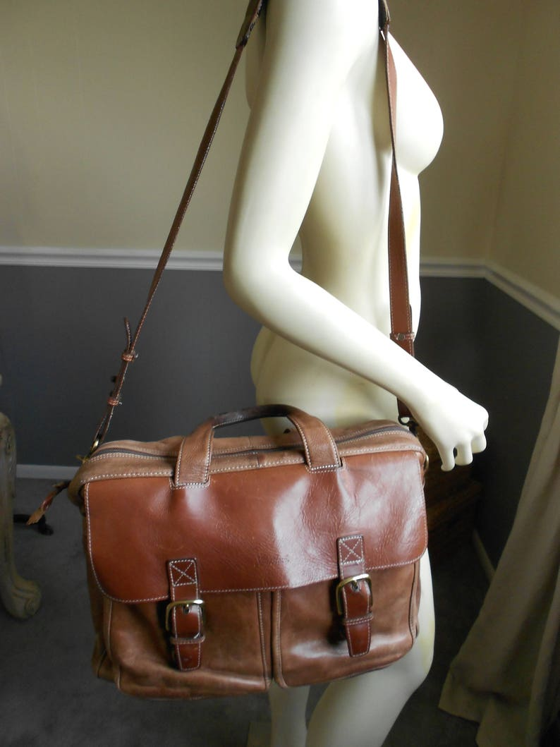 Wondrous L L Bean Brown Leather Briefcase Weekender Bag Overnight Bag Travel Carry On Unemploymentrelief Wooden Chair Designs For Living Room Unemploymentrelieforg