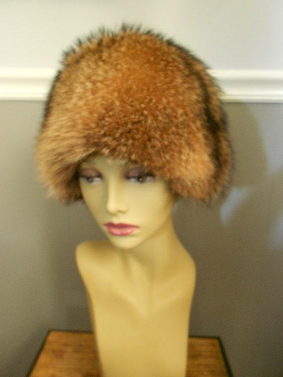 Vintage 1980s Genuine Raccoon Fur Hat