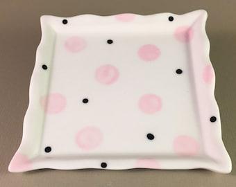 pottery bread plate, sandwich plate, dinner roll plate, dessert plate, square pottery plate, pink dots, porcelain, ceramic, hand made