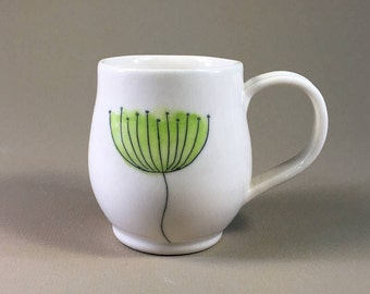 handmade pottery mug, porcelain teacup, hand made coffee cup, hand painted design, floral, teacher gift, handmade gift, mother's day