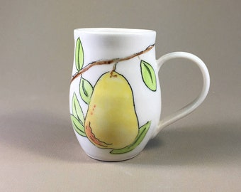 handmade pottery mug, porcelain tea cup, hand painted design, hand made coffee cup, pears, yellow, green, food styling, birthday gift