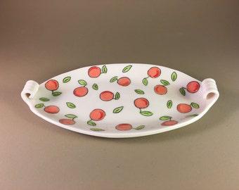 handmade platter, porcelain, slab built