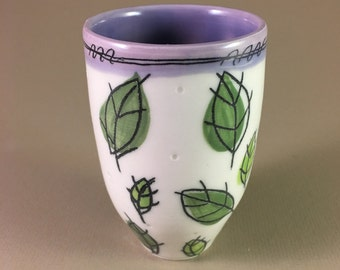 sweet pottery tumbler, cup, pencil cup, wine cup, mint julep cup, tea, cappuccino, handmade, wheel thrown, hand made, porcelain, ceramic