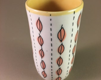 pottery cup, porcelain, no handle, tumbler tea coffee iced tea mother's day gift teacher gift