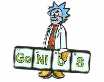 Genius Anyway Pin, FREE SHIPPING, Rick And Morty Pin,Phish Pin,Genius,  Einstein,Mango Song,enamel Pin,glow In The Dark, Hat Pin, Lapel Pin