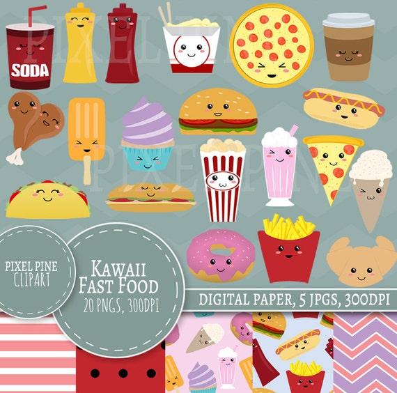 Kawaii Fast Food Clipart Ensemble La Nourriture Mignon Clipart 20 Pngs 5 Pastel Numérique Papier Jpg Tout Usage Commercial Ensemble De Kawaii