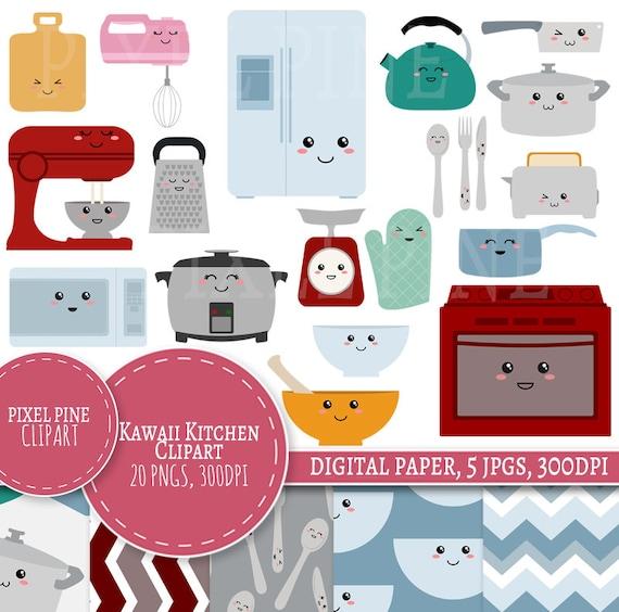 Kawaii Cuisine Clipart Set 20 Pngs 5 Kawaii Cuisine Numérique Papier Jpg Utilisation Commerciale Cute Visages Clipart Clipart De Frigo Four
