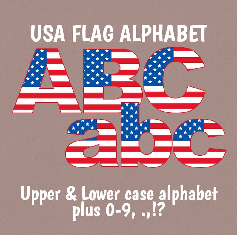 140936a4a25 USA Flag Alphabet Clipart Upper and Lower case American Flag