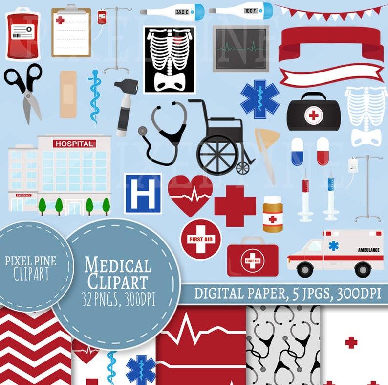 Medical Clipart Doctors themed clipart set 32 PNGs 5 Nurses image 0
