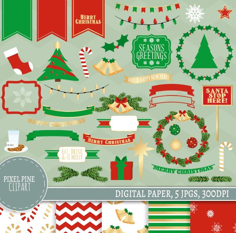 Christmas Clipart Set 40 PNGs 5 Christmas Digital Paper | Etsy