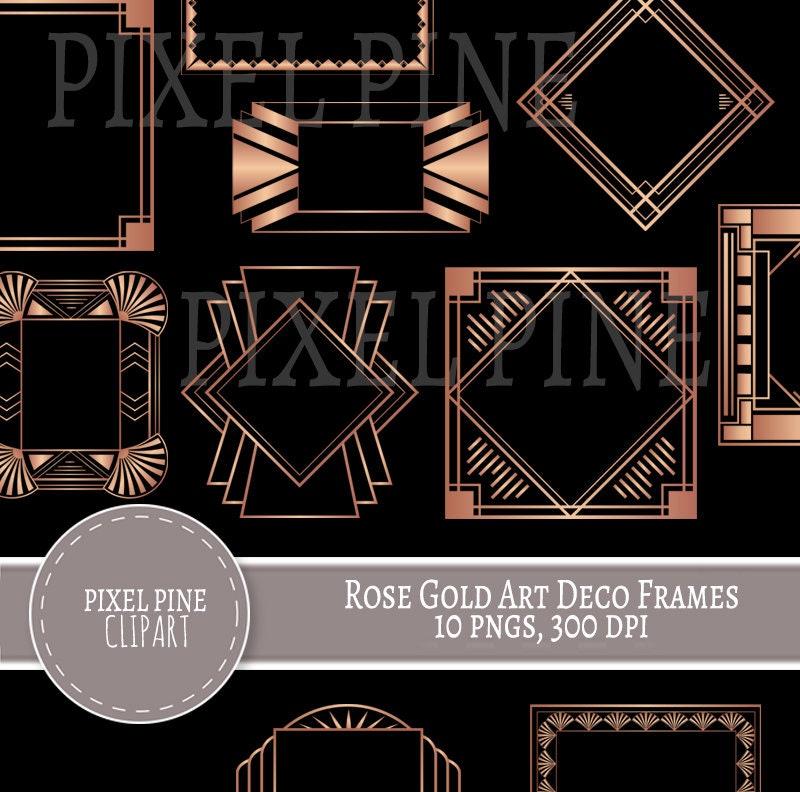 Rose Gold Art Deco Rahmen schwarz und Rose Gold 10 PNGs | Etsy