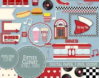 1950s Clipart Set, Red Diner 30 PNGs, 5 1950s Digital Paper JPGs, Commercial Use, Retro red Fifties clipart, 1950s clip art set