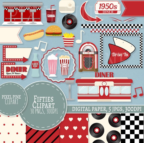 1950s clipart set red diner 30 pngs 5 1950s digital paper jpgs rh etsystudio com 1950s clipart free clipart 1950s housewife