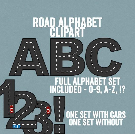 Road Alphabet Clipart Road way Letters Racing car Clipart ...