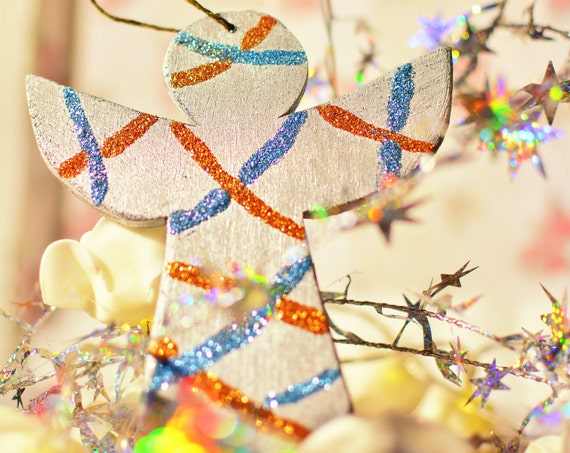 "Glitter ""Angel"" wooden Christmas ornaments."