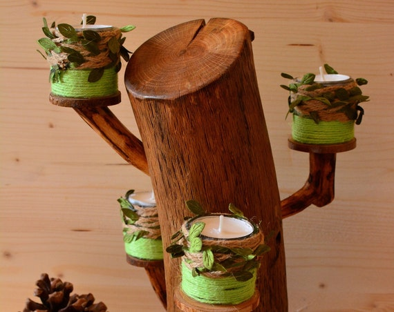 "Rustic style ""Tree"" wooden candle holder."
