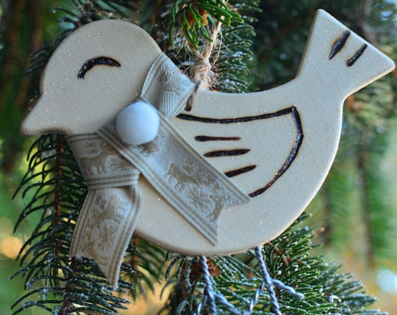 "Rustic style glitter ""Little birdie"" wooden ornaments."