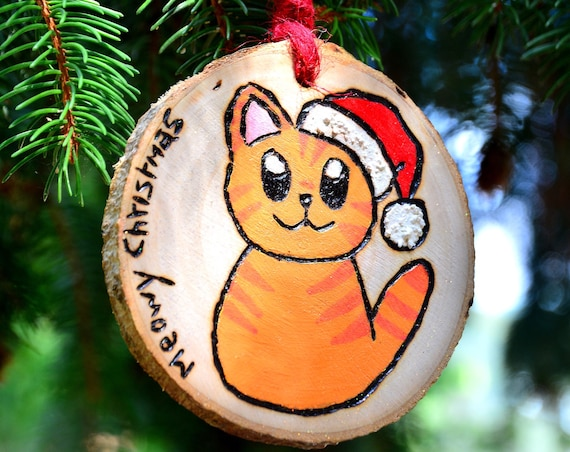 "Rustic style ""Meowy Christmas"" wooden ornaments."