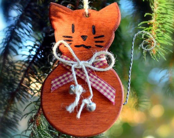 "Rustic style ""Kitten"" wooden ornaments."