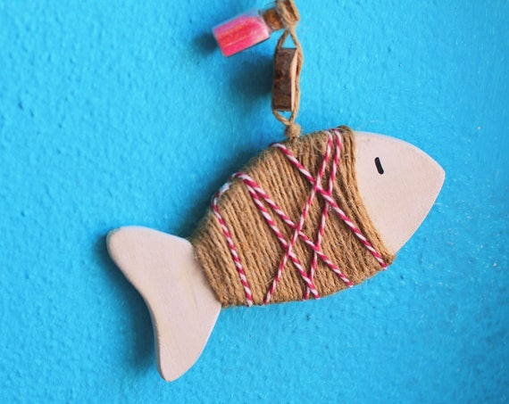 "Marine style ""Little fish"" wooden decorations."