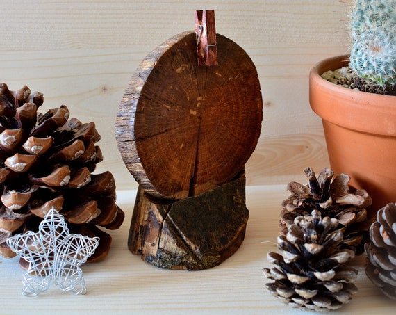 "Rustic style ""Log"" wooden photo holder."