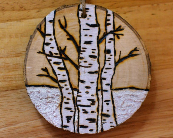 "Rustic style ""Birches"" wooden ornaments."