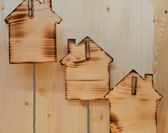 "Minimal style ""Little houses"" wooden photo holder."