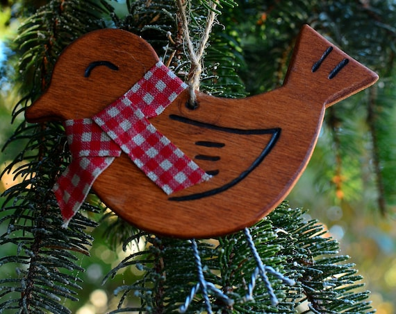 "Wooden rustic style ""Birdie"" ornaments."