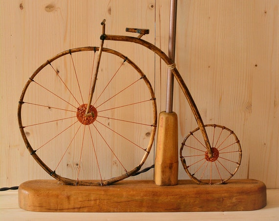 Velocipede rustic style wooden lamp.