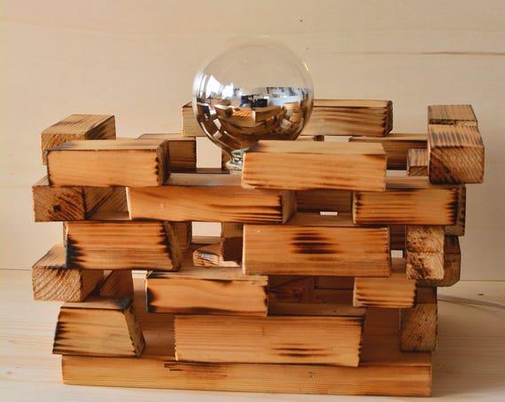 "Minimal style ""Quadra"" wooden table lamp."