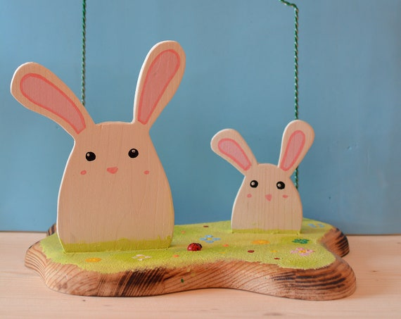 Spring Bunnies wooden photo holder.