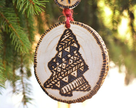 "Rustic style ""Christmas Tree"" wooden ornaments."
