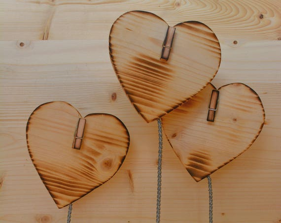"Minimal style ""Hearts"" wooden photo holder."
