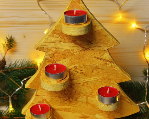 "Wooden minimal style ""Tree of light"" candle holder."
