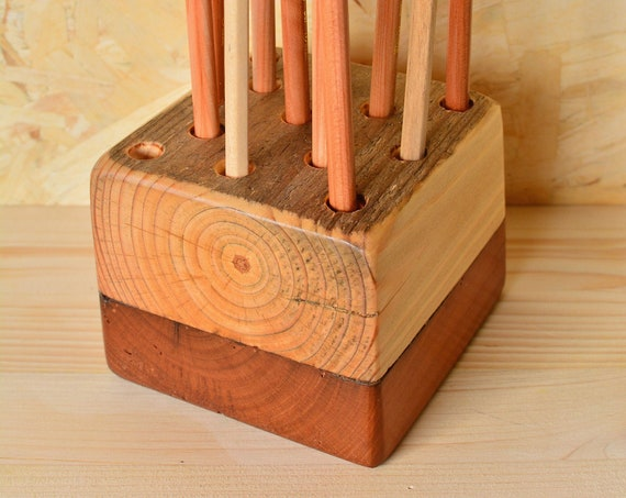 "Upcycled wooden desk organizer ""Double""."
