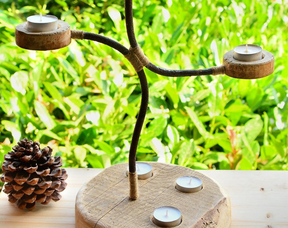 "Rustic style ""Countryside"" wooden candle holder."